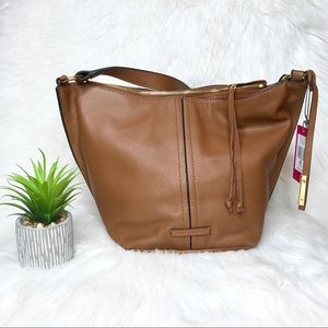 Vince Camuto Caol Leather Hobo in Dark Rum